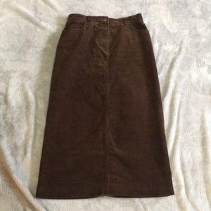 Women's brown, corduroy skirt.